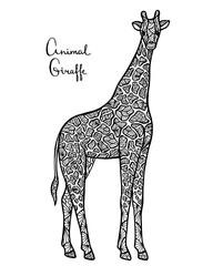 Stylized vector giraffe, zentangle isolated on white background.