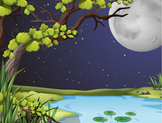 River scene on fullmoon night