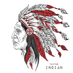 Man in the Native American Indian chief. Black roach. Indian feather headdress of eagle.  Hand draw vector illustration