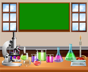 Classroom full of science equipment