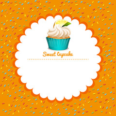 Border design with lemon cupcake