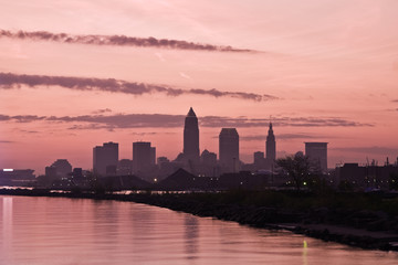 Fotomurales - Silhouette of Downtown Cleveland