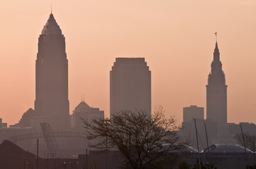 Wall Mural - Silhouette of Downtown Cleveland