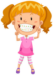 Little girl with braces