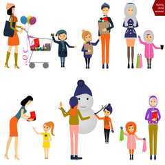 Mother with child buying Christmas / Vector