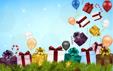 Merry christmas background with gift boxes, balloons, candies, and fir tree
