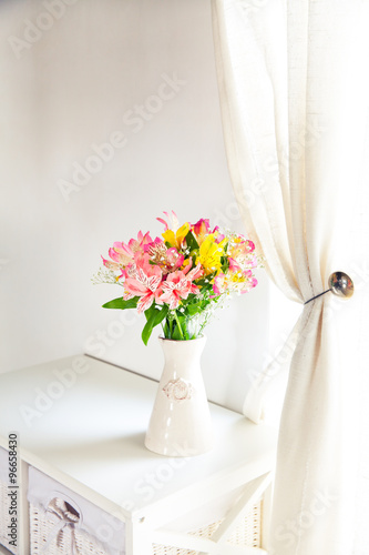 Alstroemeria Flowers In Vase On Table Stock Photo And Royalty Free