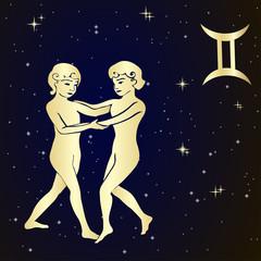Zodiac Gemini is the starry sky