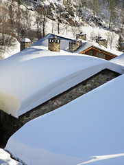 Roof of old house in Llorts. Andorra