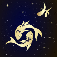 Pisces zodiac sign is the starry sky