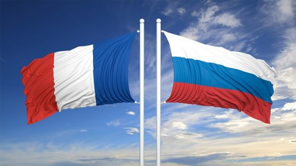 French and Russian flags