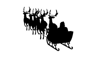 Santa Claus with sleigh and reindeer silhouette