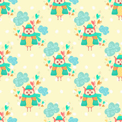 Seamless pattern with clouds and owls