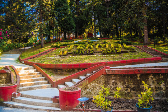 Old Park in Turkey ornamented with different flowers