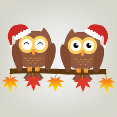 Two owls on maple tree wearing a red santa claus hat. Vector ill