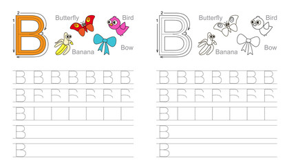 Tracing worksheet for letter B