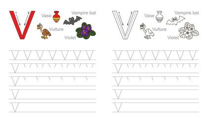 Tracing worksheet for letter V