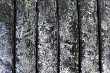 Ice formations on wood