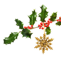 Holly bough decoration