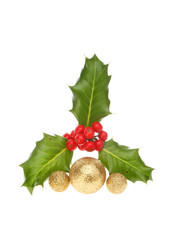Sprig of holly with baubles