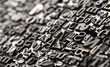 Letterpress background, close up of many old, random metal lette