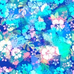 Hawaiian tropical floral seamless pattern.