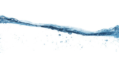 Close up of water surface isolated on white background with copy