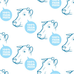 Seamless Pattern with cow