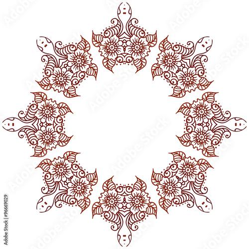 Circular floral ornament mehndi henna tattoo mandala yantra brown circular floral ornament mehndi henna tattoo mandala yantra brown vintage vector banner frame card stopboris Images