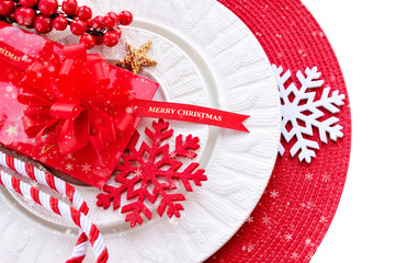Christmas decorations on plate. Christmas holidays concept