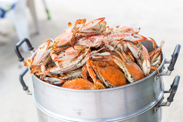 Steamed crab on the steaming pot