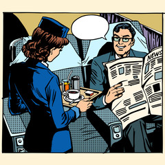 business class plane breakfast stewardess businessman