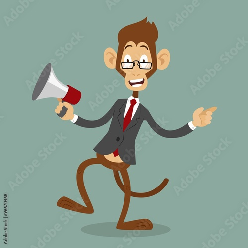 quotcartoon monkey business man stress dancingquot stock image