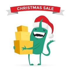Cartoon cute monsters Christmas sale shopping vector
