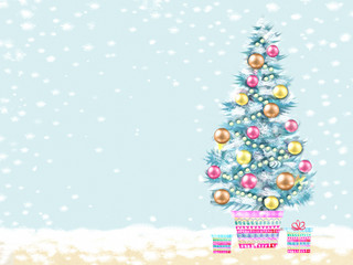 Merry Christmas and Happy New Year. Illustration of decorated Christmas tree in a flowerpot with gifts. Christmas greeting card.