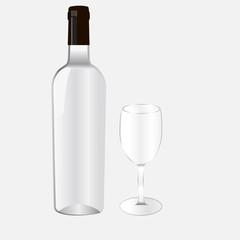 Бутылка для алкоголя и бокал