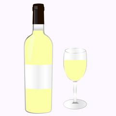 Бутылка белого вина с бокалом