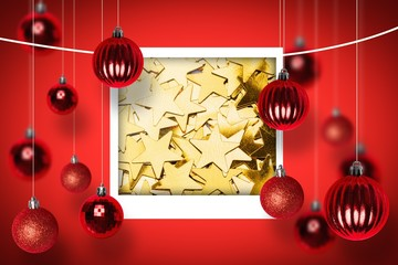 Composite image of many gold star decorations background