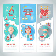 Medical doctors flat portraits on banners