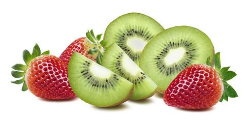 Kiwi strawberry big composition isolated on white