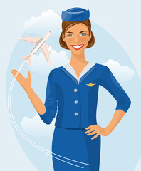 Air hostess. Woman in official clothes. Cute cheerful female flight attendant in blue uniform