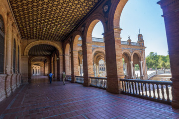 columns arches near the famous Plaza of Spain in Seville, Spain
