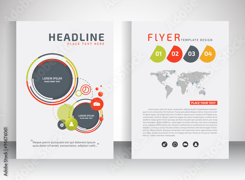 Business Flyer Brochure Vector Template With Circle Shape Stock