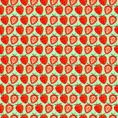 Seamless fruits vector pattern, bright color symmetrical background with strawberries, whole and half, over green backdrop