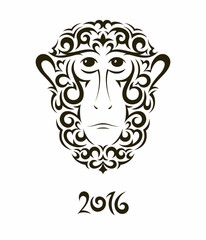 Greeting card with monkey - symbol of the New Year 2016.