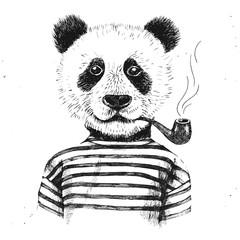 Fototapete - Hand drawn Illustration of hipster panda