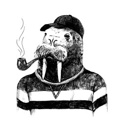 dressed up walrus in hipster style