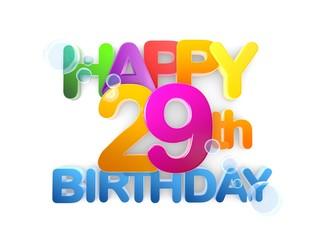 Happy 29th Birthday Title, light