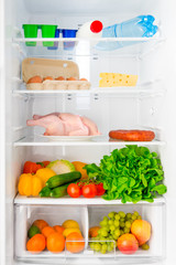 shelf of the refrigerator with food