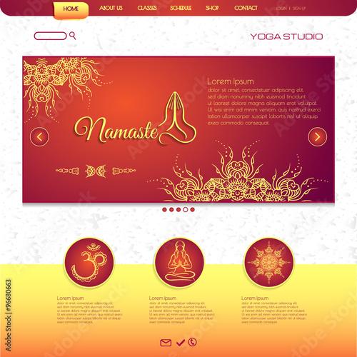 Website Template Yoga Card With Floral Henna Mehendi Design Om Aum
